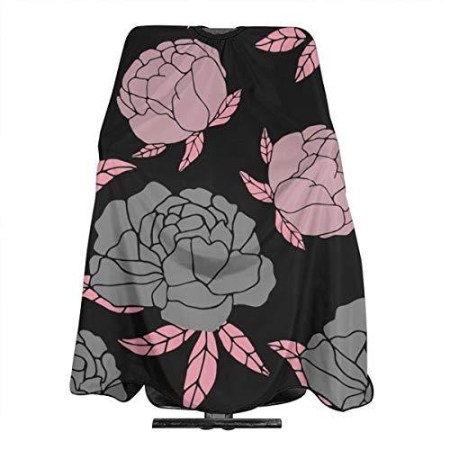 Tablier de coiffure imperméable à motif floral gris et rose - Pour homme et femme - Tissu antistatique - 140 x 168 cm