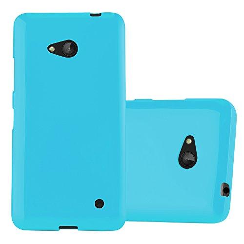 Cadorabo Custodia per Nokia Lumia 640 in JELLY CELESTE - Morbida Cover Protettiva Sottile di Silicone TPU con Bordo Protezione - Ultra Slim Case Antiurto Gel Back Bumper Guscio