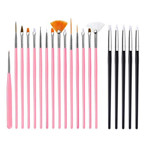 Minkissy Nail Art Brushes Set 20Pcs Nail Art Stylos Kit Nail Dotting Pen Liner Striping Brush for Salon Home Pink