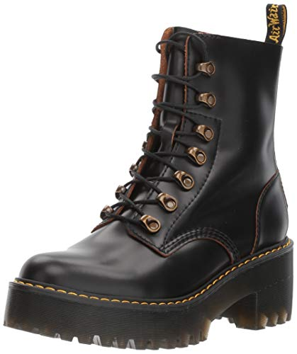 Dr. Martens Shoes Leona Boot, Black Vintage Smooth, 7 UK, Women's 9 US