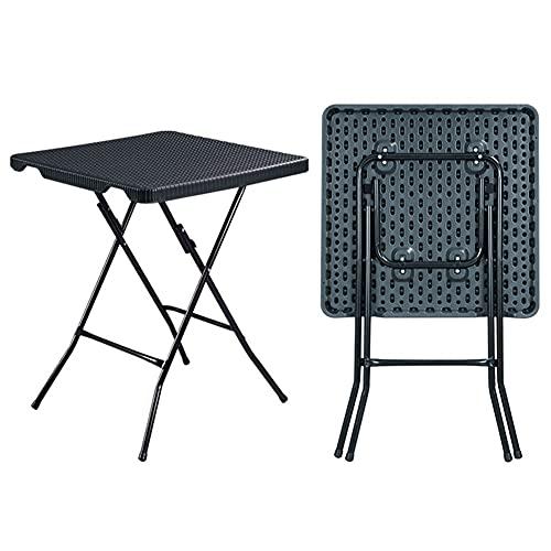 LICHUAN Mesa de camping cuadrada plegable con patas de metal para TV, cena, portátil, portón trasero, multiusos, fácil transporte, útil para comer y cocinar (color negro)