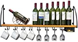 Estante de Vino de Moda Estante de Vino Moderno Minimalista Montado en la Pared Estantes de Vino Tenedor de Vidrio Hogar Wood Wine Taza Estante Estante al revés Almacenamiento de Pared Racks de Vino