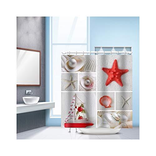 SonMo Duschvorhang Marinestil Rot Seestern & Perle Polyester Mehrfarbig Digitaldruck Anti-Bakteriell Anti-Schimmel Wasserdichtbadewanne Vorhänge mit Duschvorhangringen 240×180CM