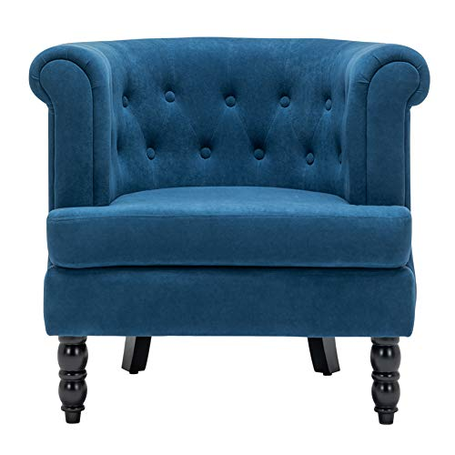 INMOZATA Tub Chair Comfy Velvet Faux Fabric Club Chair Retro High Back Armchair withBlack Wood Legs for Living Room Bedroom Dining Chair Lounge (Navy Blue)