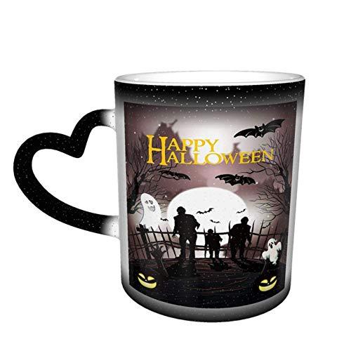 N\A Halloween Ghost Bat Zombie Magic Taza Que Cambia de Color Sensible al Calor en el Cielo Tazas de café artísticas Divertidas Regalos Personalizados para Amantes de la Familia Amigos