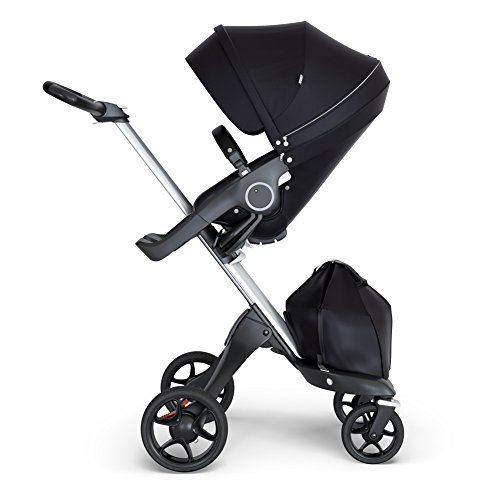 StokkeXplory V6 Silver Chassis Stroller with Black Leatherette Handle, Black