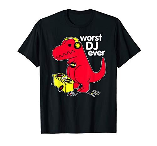 Worst DJ Ever Funny Red Dinosaur T-Shirt