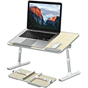 Srica Laptop Desk with Wrist Rest,Height Adjustable and Foldable Laptop Table Trays Fits Up to 17 Inches Laptops for Bed/Couch/Sofa(White)