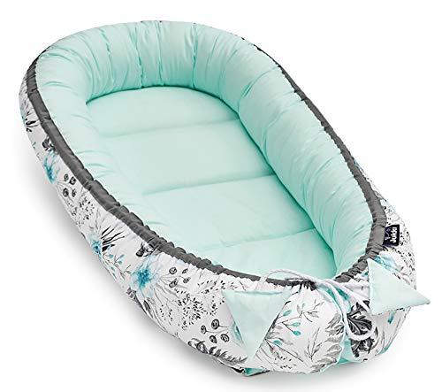 Solvera_Ltd Babynest 2seitig Kokon öko Babybett Nestchen für Neugeborene 100% Baumwolle Kuschelnest Weiches und sicheres Baby-Reisebett (50x90) (In Garden Mint)
