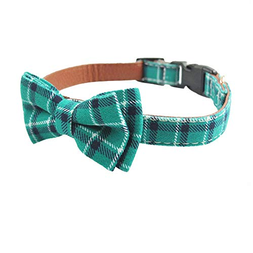 Dog Collar Bow Tie - Adorable Plaid Sturdy Soft Material&Leather Dog Collars for Small Medium Large Dogs Breed Pup Adjustable 18 Colors and 3 Sizes (Cyan Plaid, S 10'-14')