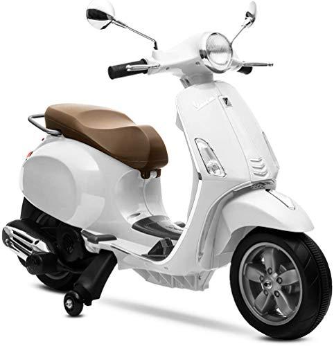 Mondial Toys Moto ELETTRICA per Bambini Vespa Primavera Piaggio 12V con Sedile in Pelle LUCI Suoni Bianco