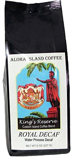 ROYAL DECAF, Swiss Water Process, Hawaiian Blend Decaf Coffee, 8 Oz Whole Bean