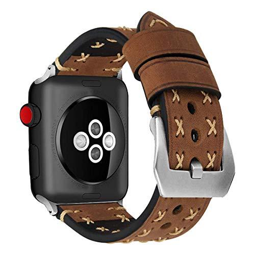MroTech Correa de Cuero Compatible para iWatch Serie 4/3 / 2/1 iWatch Pulseras de Repuesto 42mm Banda de Reloj Bracelet Strap para Sport Edition Nike+ 42 mm 44 mm Watch Band, Vintage-Marron