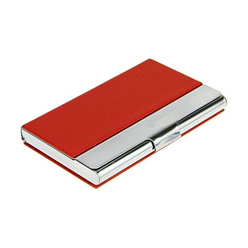 Bao core funda para tarjetas de visita/tarjetero/Visita/crédito/fidelidad 9.4* 5.8* 1cm piel sintética + Base en acero inoxidable 18pc rojo/bronce/negro/rosa rojo rojo rojo