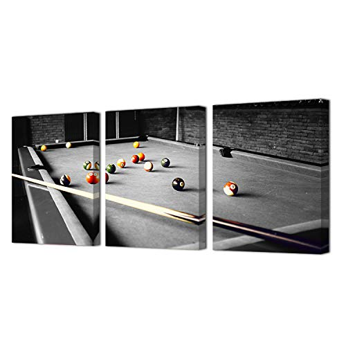 HOMEOART Billiards Pictures Art Print on Canvas Pool Room Wall Decor Framed Prints Gallery Wrap Ready to Hang 12x16inchx3Panels