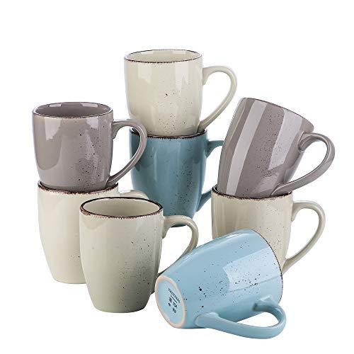 vancasso Serie Navia Nature Juego de Tazas 8 Piezas, 350ML Mugs Tazas de Desayuno, Café, Leche, 4 Colores