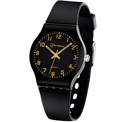Image of Kids Watch Analog, Teens Child Quartz Waterproof Wristwatch with for Kids Boys Girls,Time Teach Watches Easy to Read Time with Soft Silicone Band,with Gift Box (Black2)