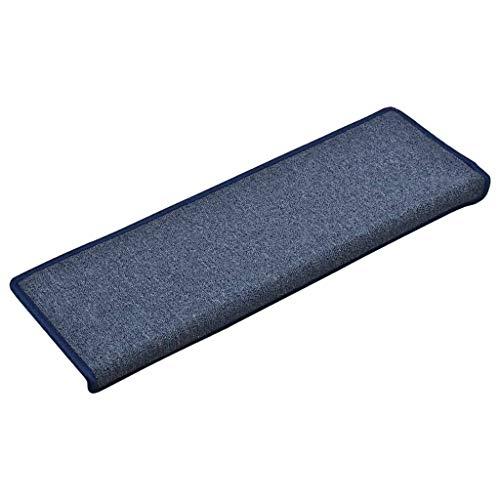 vidaXL 15x Teppich Treppenstufen mit Klebebändern Stufenmatten Treppenmatten Treppenteppich Treppenschoner Stufenmatte Treppenmatte 65x25cm Blau