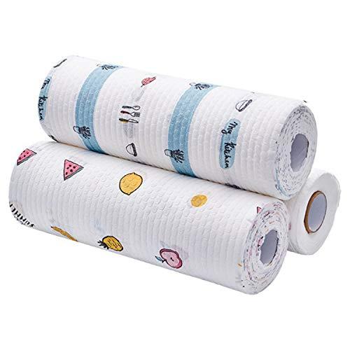 3 rollos de toallas de papel de cocina, lavables, reutilizables, rollos de paños de limpieza desechables (50 hojas/rollo) al azar