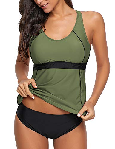 GRAPENT Women's Racerback Colorblock Two Piece Tankini Sets Swimsuit Swimwear Army Green