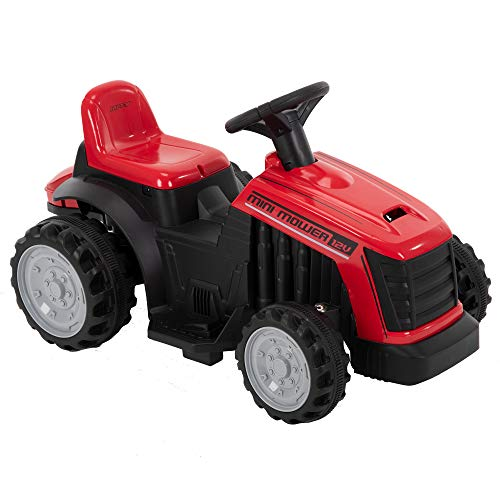 Huffy Kids Electric 12V Ride On Mini Mower Bubble Tractor, Red