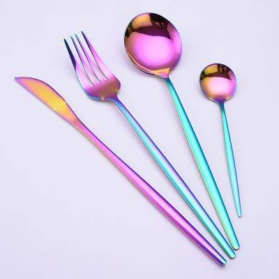 YEA Stainless Steel Cutlery Set Golden Luxury Fashion Portuguese Knife Fork Spoon Desert Spoon 4 Piece Dinner Set