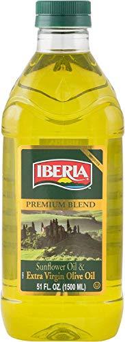 Iberia Extra Virgin Olive Oil & Sunflower Oil Blend, 51 oz, High Heat Frying, All Purpose Cooking Oil, Baking & Deep Frying Oil from Spain, Kosher