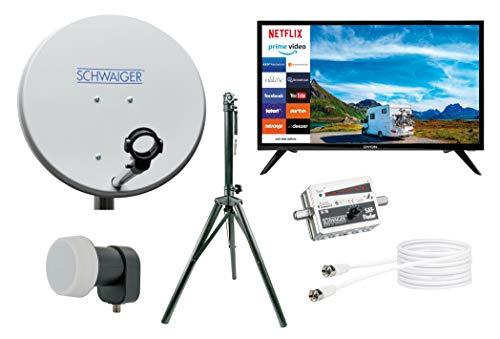 SCHWAIGER -TVSET3- Camping-Sat-Anlage digital komplett|Camping Satellitenschüssel|Smart TV 24