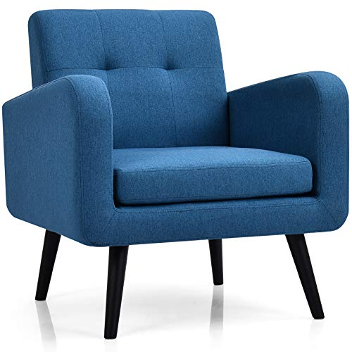 Giantex Modern Upholstered Accent Chair, Mid Century Armchair, w/Rubber Wood Legs, Linen Fabric Single Sofa for Living Room, Bedroom, Office (1, Navy)