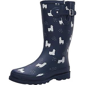 Western Chief Women's Printed Tall Rain Boot Shoe, Navy, 9