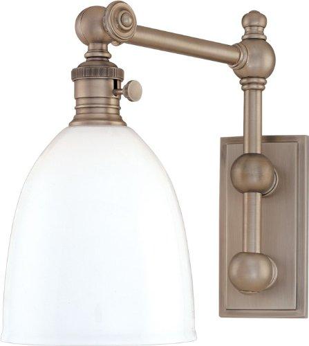 Hudson Valley 762-PN, Monroe Swing Arm Glass Wall Sconce Lighting, 1 Light, 100 Total Watts, Nickel