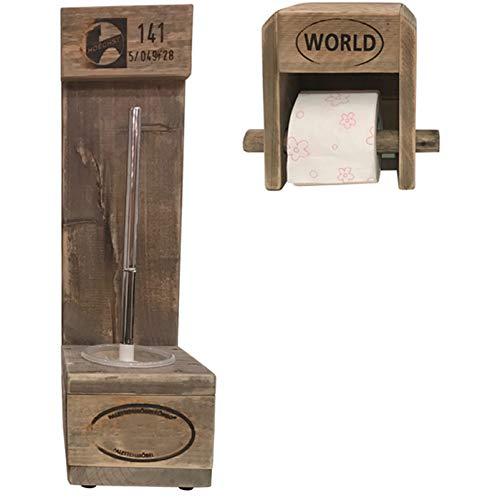 """Palettenmöbel WC-Bürstenhalter/Toilenpapierhalter Set""""Pearl Harbor"""" aus zertifiziertem Europalettenholz, jedes Teil ist Einzigartig und Wird in Deutschland in Handarbeit Gefertigt"""