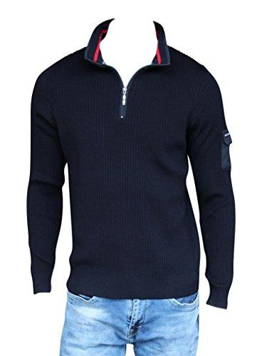 Saint James herenpullover Navy - maritiem pullover met rits, maat L, maat XL, maat XXL