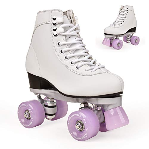 Adult Men and Women New Indoor and Outdoor Roller Skates Adult Double-Row Roller Skates Four-Wheel Skates (Lavender,8.5)