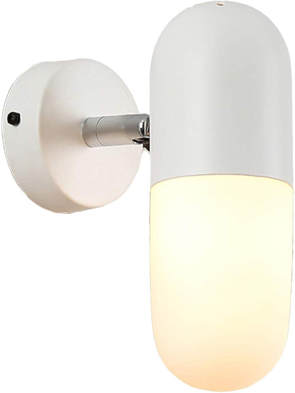Kreative Wandleuchte LED Wandlampe innen Modern mit verstellbarem Lichtwinkel Nachtlichter für Schlafzimmer, Wohnzimmer, Balkon etc,Weiß