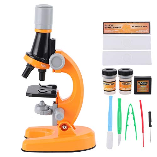 Jingyig Microscope, 40X‑1200X Microscope, High Definition Plastic Professional Simple for Kids Learning Tool Children Gifts(Orange)