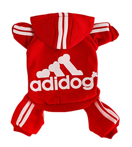 Rdc Pet Adidog Dog Hoodies, Clothes,Fleece Jumpsuit Warm Sweater,4 Legs Cotton Jacket Sweat Shirt Coat for Small Dog Medium Dog Large Dog (Red,M)