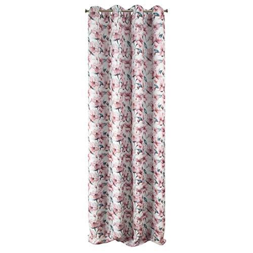 Eurofirany Willow zasłona Blackout kwiaty wzór modne oczka elegancki wysokiej jakości glamour sypialnia pokój dzienny biały + różowy, 135 x 250 cm