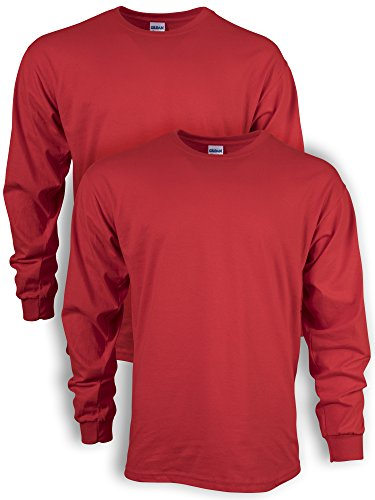 Gildan Men's Ultra Cotton Long Sleeve T-Shirt, Style G2400, 2-Pack, Red, Large