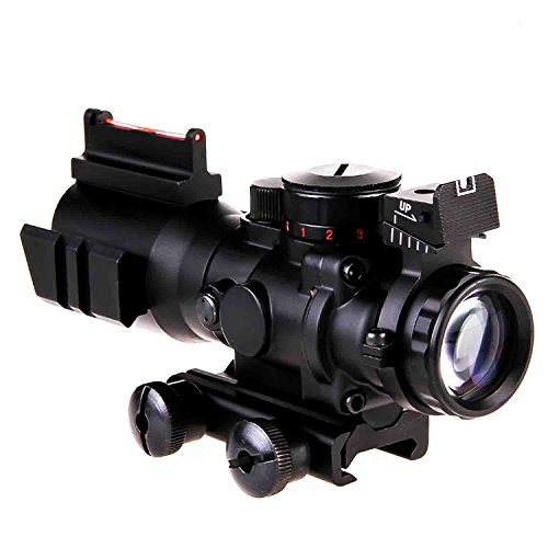 Webetop Rifle Scope for Hunting AR15 Gun-100 Yards 4x32 Red Green Blue Reticle Illuminated Rapid Range Optic Gun Scope with 20mm Rail Mount-Compact Design /Wide Field of View /No Parallax