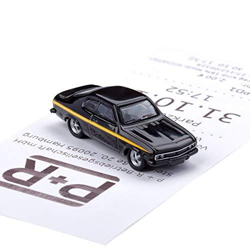 corpus delicti :: Magnetischer Parkscheinhalter für das Armaturenbrett – Modellauto mit Magnet und Selbstklebender Haftscheibe – Kultauto Opel Manta A Black Magic