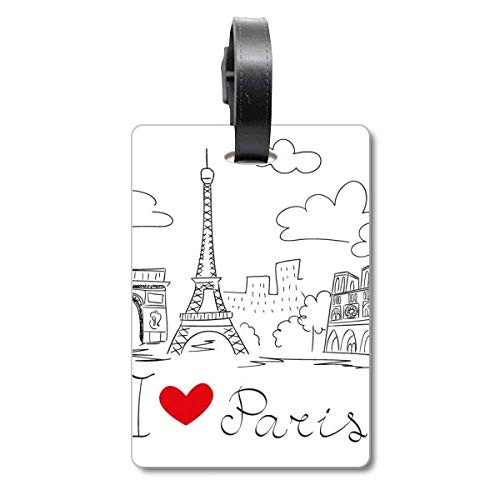 I Love Paris France Eiffel Tower Line - Etiqueta de identificación para Maleta, diseño de Torre Eiffel