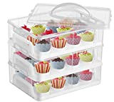 DuraCasa Cupcake Carrier, Cupcake Holder - Premium Upgraded Model - Store up to 36 Cupcakes or 3 Large Cakes - Stacking Cupcake Storage Container - Cookie, Muffin or Cake Carrier (White, Three Tier)