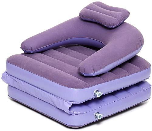 LIjiMY Sitzsack-Stuhl 2 In 1 Aufblasbares Faules Sofa Por Tisch Faltbett Einzelne Matratzen Mit Luftpumpe Outdoor Camping (Farbe: Lila, Größe: Eine Größe) (Color : Purple, Size : One Size)