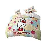 Bfrdollf Hello Kitty - Juego de funda de edredón y fundas de almohada (microfibra, 200 x 200 cm, 5 unidades), diseño de Hello Kitty