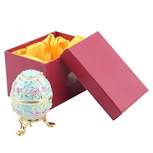 Sorandy Joyero De Huevo De Pascua, Organizador de Joyero Huevo Pascua Esmaltado Hecho a Mano, Huevos de Fabergé Vintage Decoración de Escritorio para El Hogar Adornos Regalos