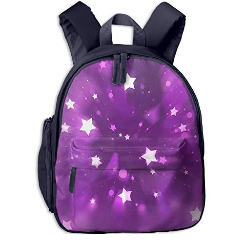 Kinderrucksack Sternschnuppen Lila, Schulrucksack für Mädchen und Jungen Schultasche Schulranzen Teenager Backpack Daypack Freizeitrucksack Kinder Rucksack