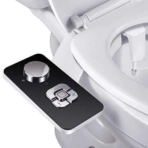 Bidet Aufsatz - SAMODRA Nicht Elektrisch Bidet Toilettenaufsatz mit Einziehbare selbstreinigende Doppeldüsen,Front- und Heckreinigung,Einstellbarer Druckschalter für Kaltes Wasser,Schwarz