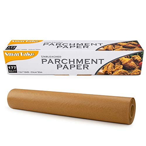 SMARTAKE Parchment Paper, 13 in × 164 ft (177 Sq. Ft) Non-Stick Baking Parchment Roll, Baking Pan Liner for Kitchen, Air Fryer, Steamer, Cooking Bread, Cookies and More, Unbleached