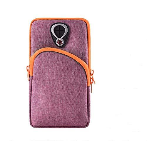 Bolsa de deporte para brazo de teléfono móvil para hombres y mujeres, bolsa de brazo, impermeable, color sólido, para correr por la noche, para deportes y deportes (color: F)